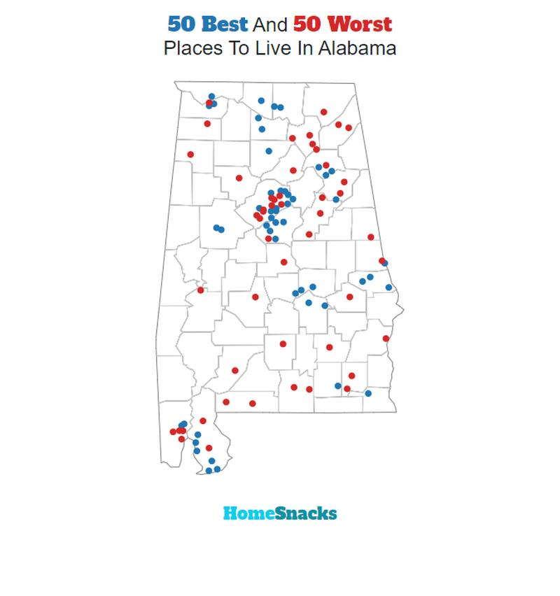 Best Places To Live In Alabama Map