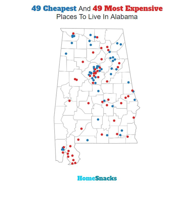 Map Of The Cheapest Places To Live In Alabama