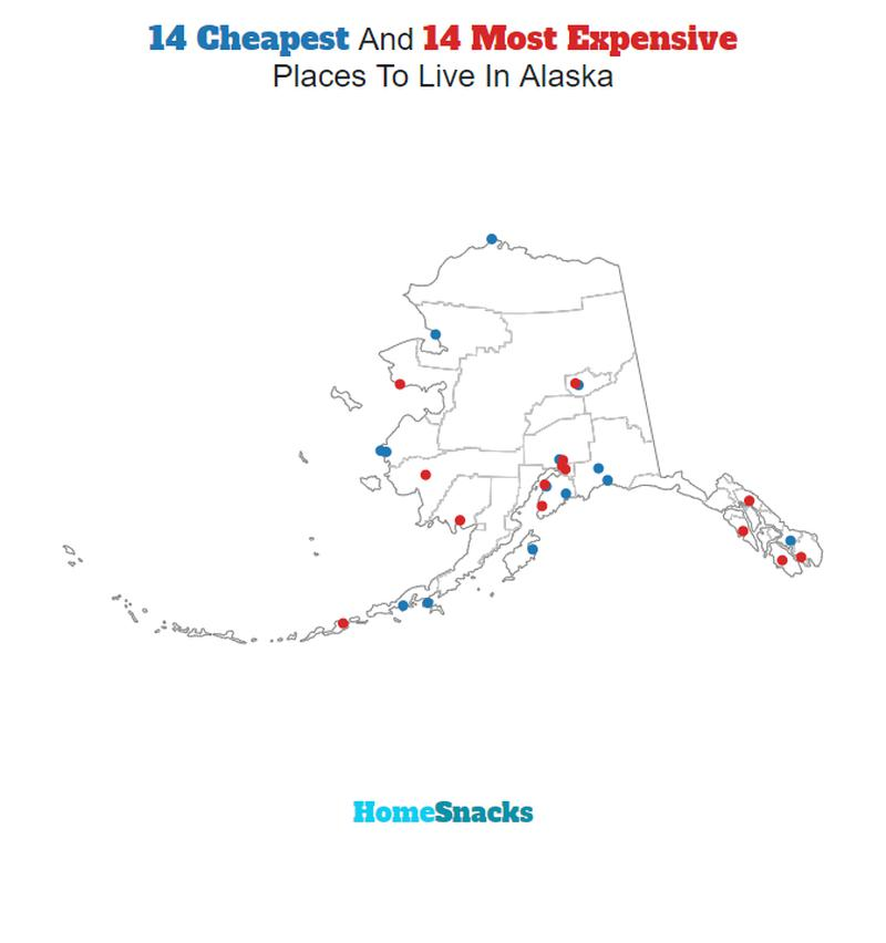 Map Of The Cheapest Places To Live In Alaska