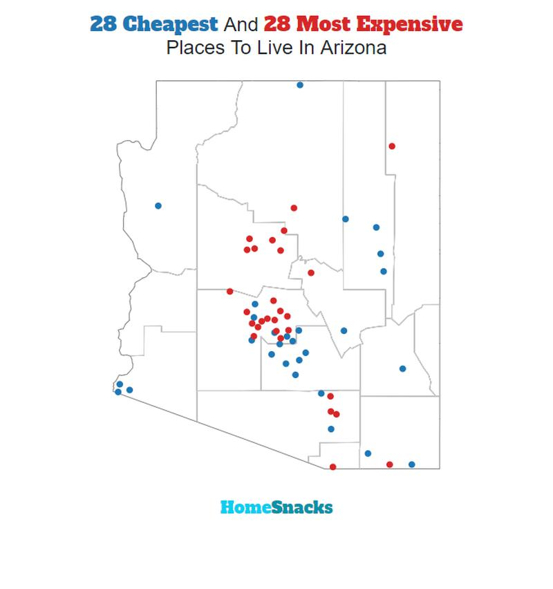 Cheapest And Most Expensive Places To Live In Arizona Map