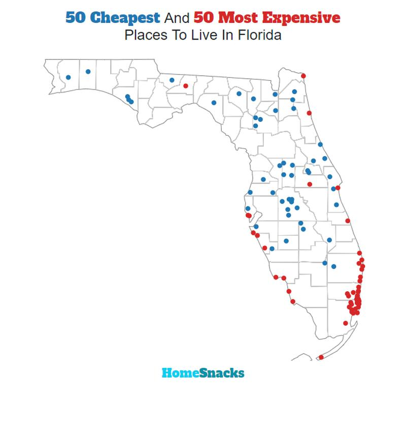 Map Of The Cheapest Places To Live In Florida