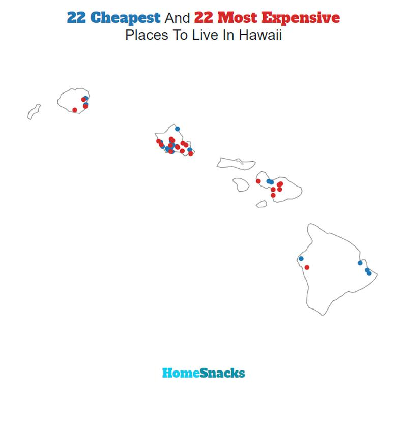 Map Of The Cheapest Places To Live In Hawaii