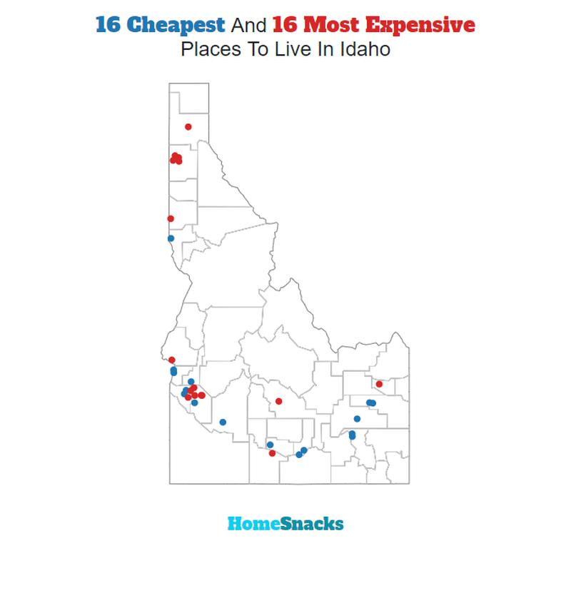 Map Of The Cheapest Places To Live In Idaho