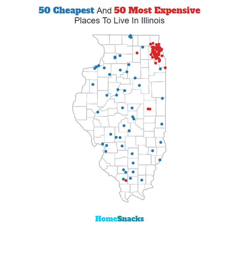 Map Of The Cheapest Places To Live In Illinois