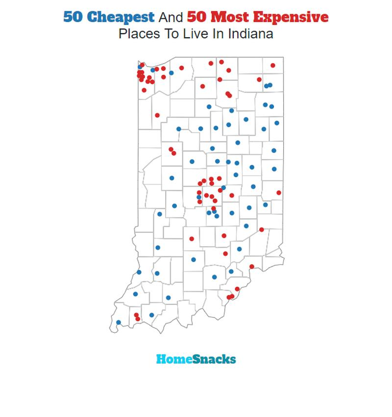 Map Of The Cheapest Places To Live In Indiana