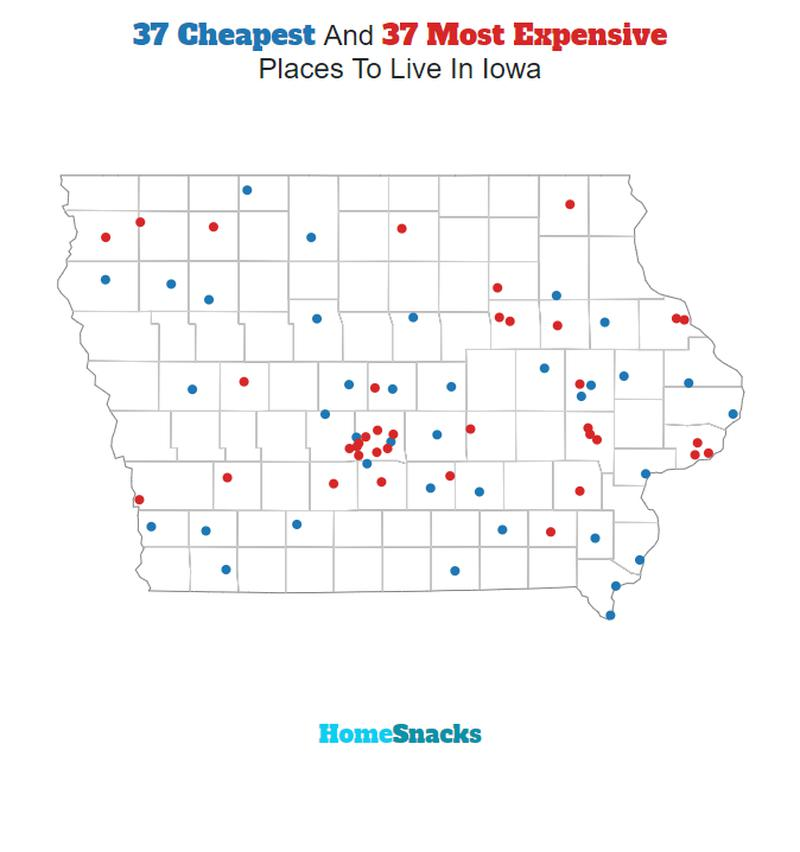 Cheapest And Most Expensive Places To Live In Iowa Map