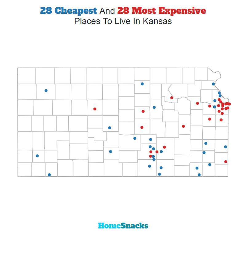 Map Of The Cheapest Places To Live In Kansas