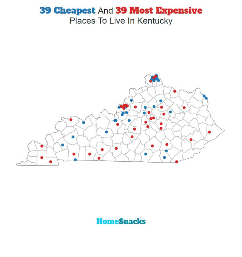 Map Of The Cheapest Places To Live In Kentucky