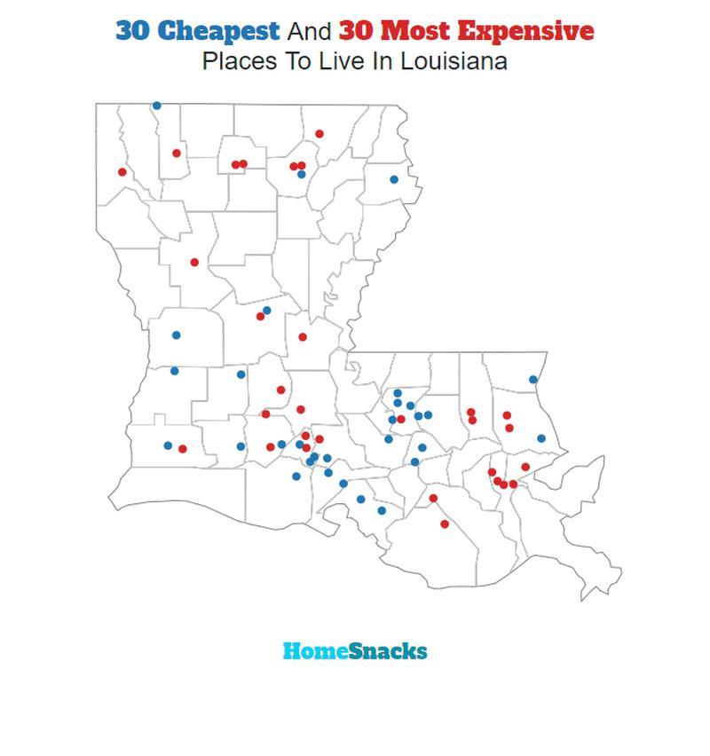 Map Of The Cheapest Places To Live In Louisiana