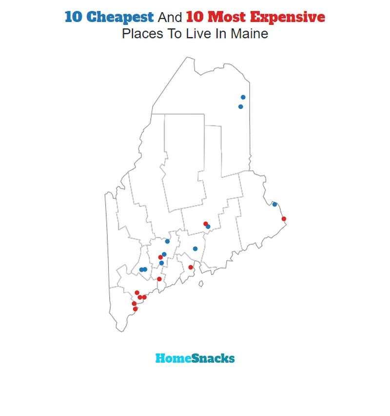 Map Of The Cheapest Places To Live In Maine
