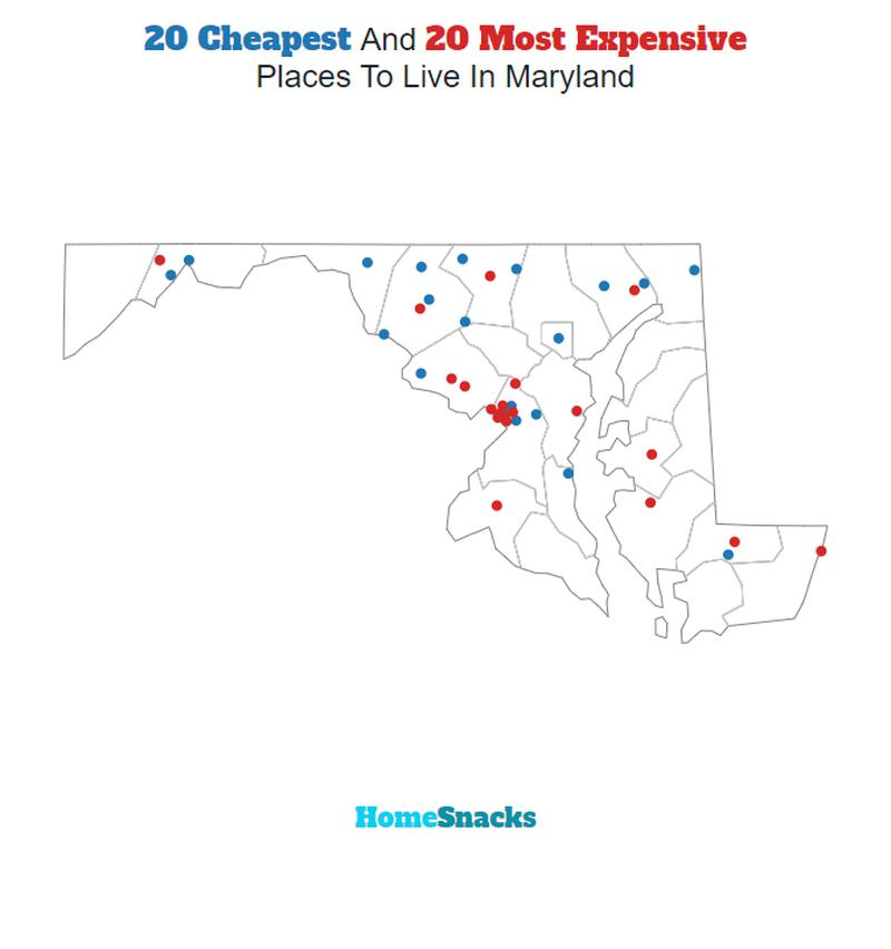 Map Of The Cheapest Places To Live In Maryland