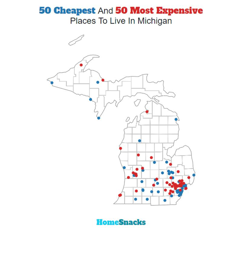 Map Of The Cheapest Places To Live In Michigan