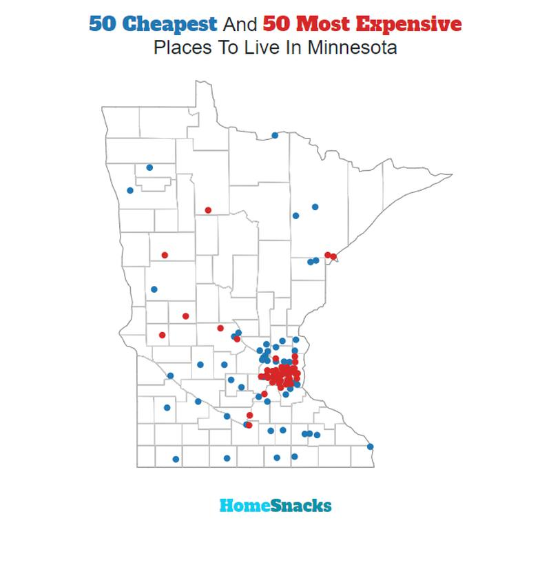 Map Of The Cheapest Places To Live In Minnesota