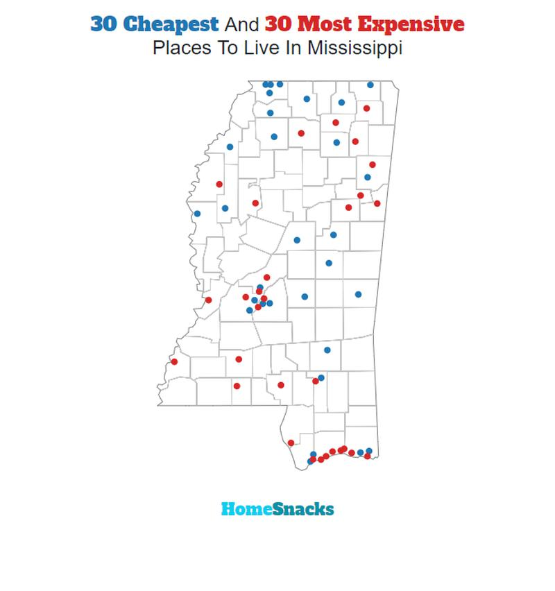 Map Of The Cheapest Places To Live In Mississippi