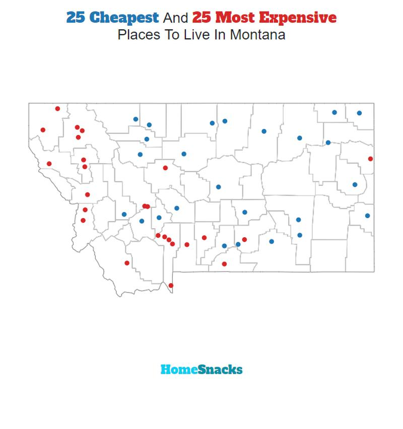 Map Of The Cheapest Places To Live In Montana