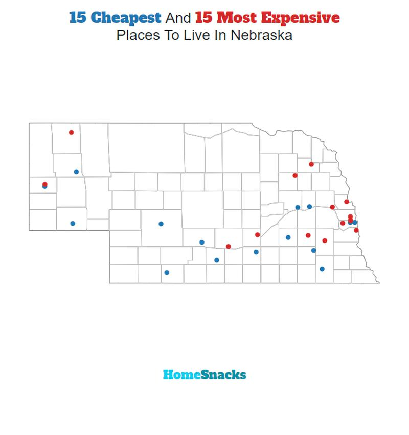 Map Of The Cheapest Places To Live In Nebraska