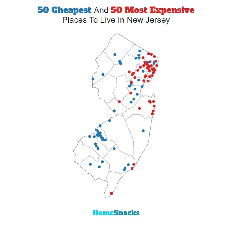 Map Of The Cheapest Places To Live In New Jersey