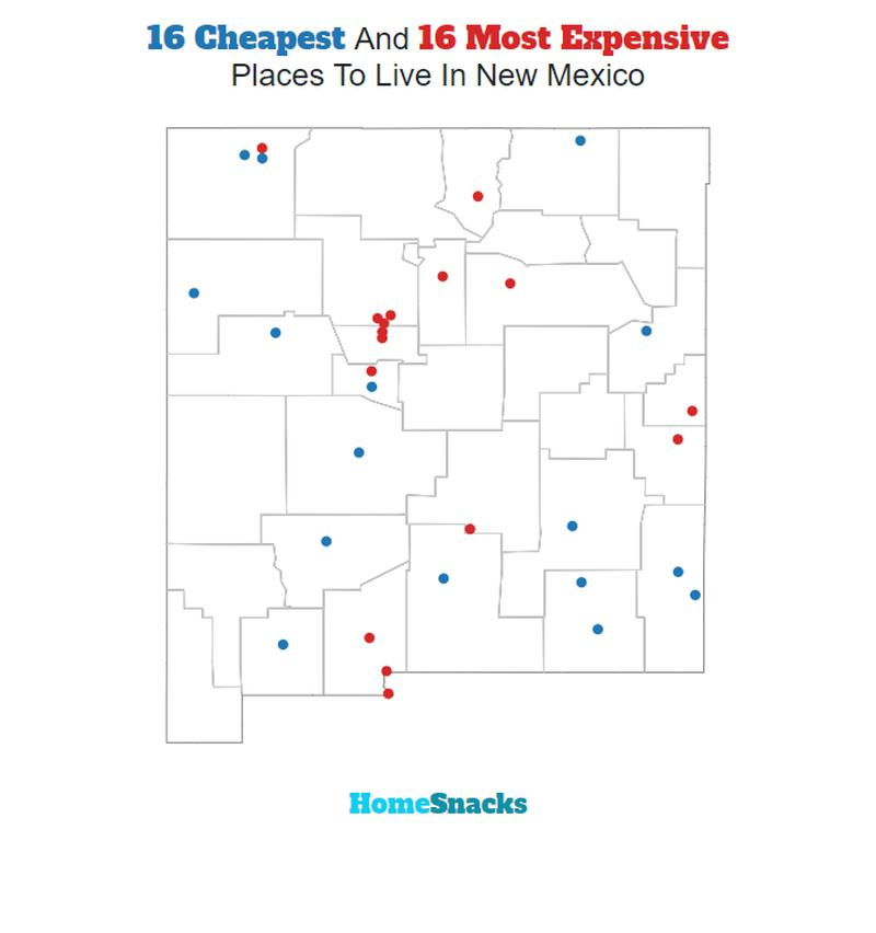 Map Of The Cheapest Places To Live In New Mexico