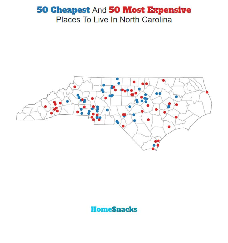 Map Of The Cheapest Places To Live In North Carolina