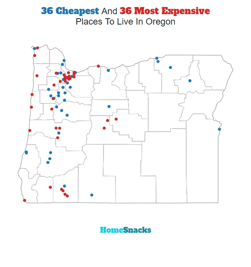 Map Of The Cheapest Places To Live In Oregon