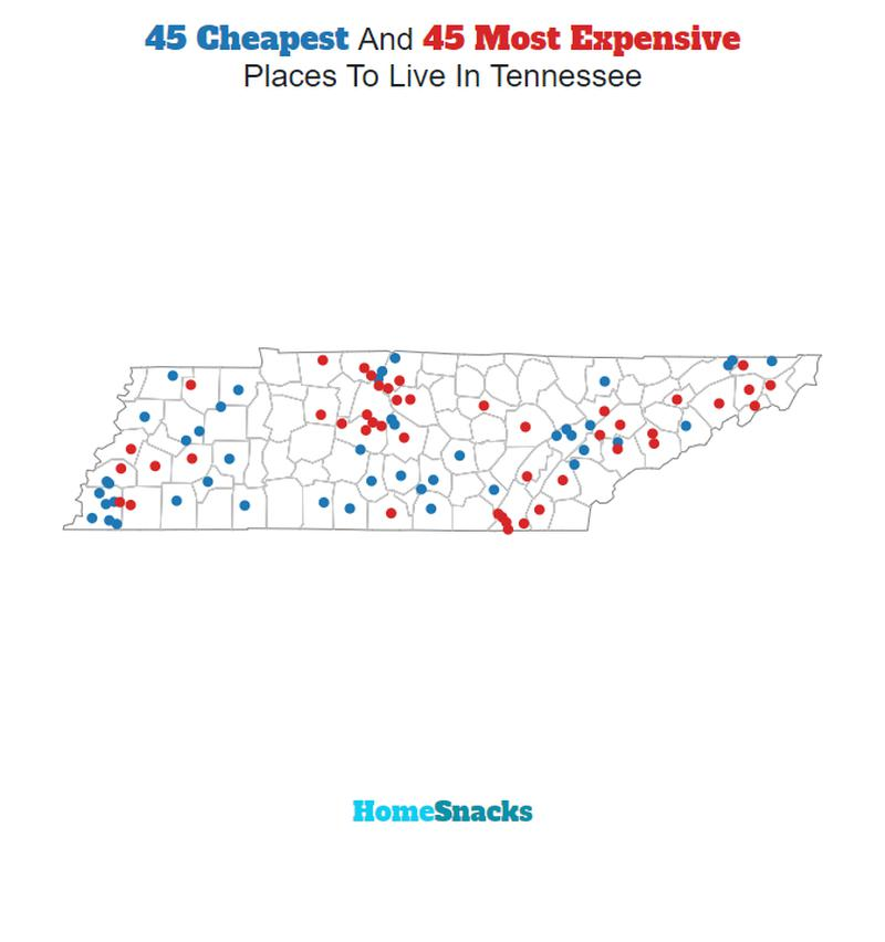 Map Of The Cheapest Places To Live In Tennessee