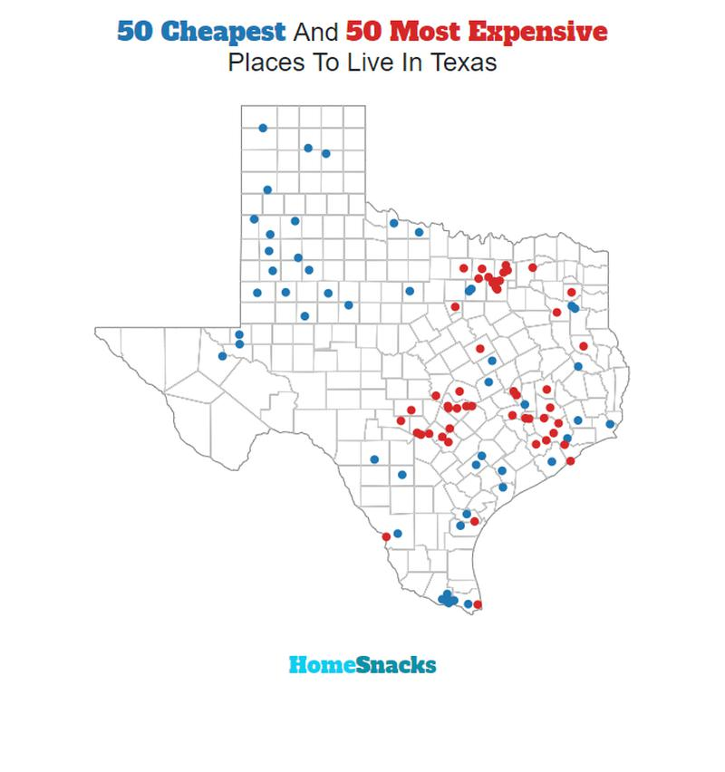 Map Of The Cheapest Places To Live In Texas