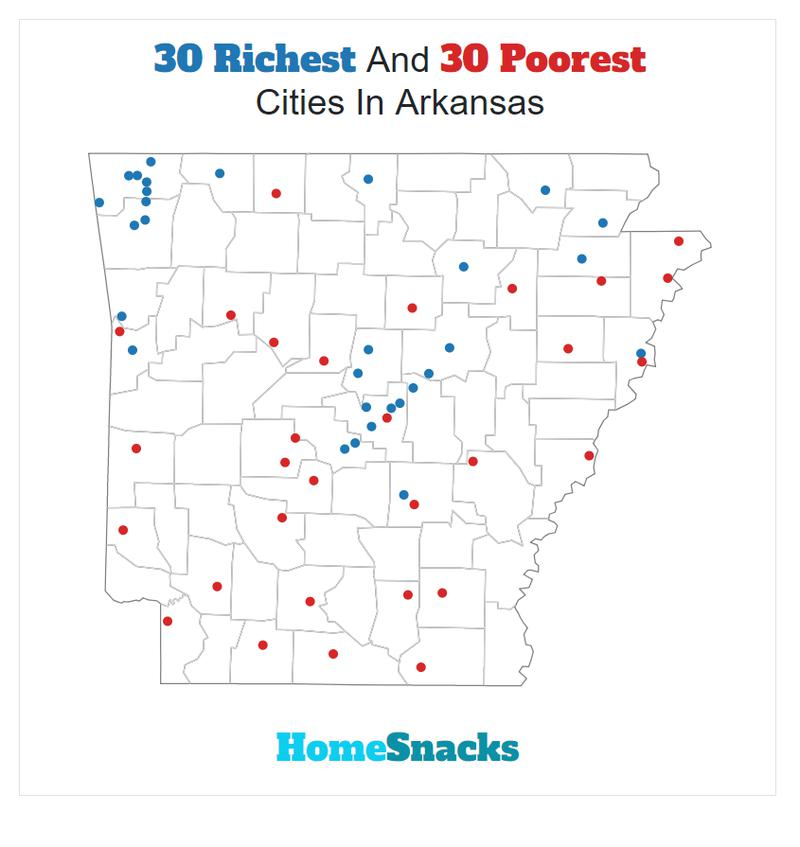 Map Of The Richest Places To Live In Arkansas