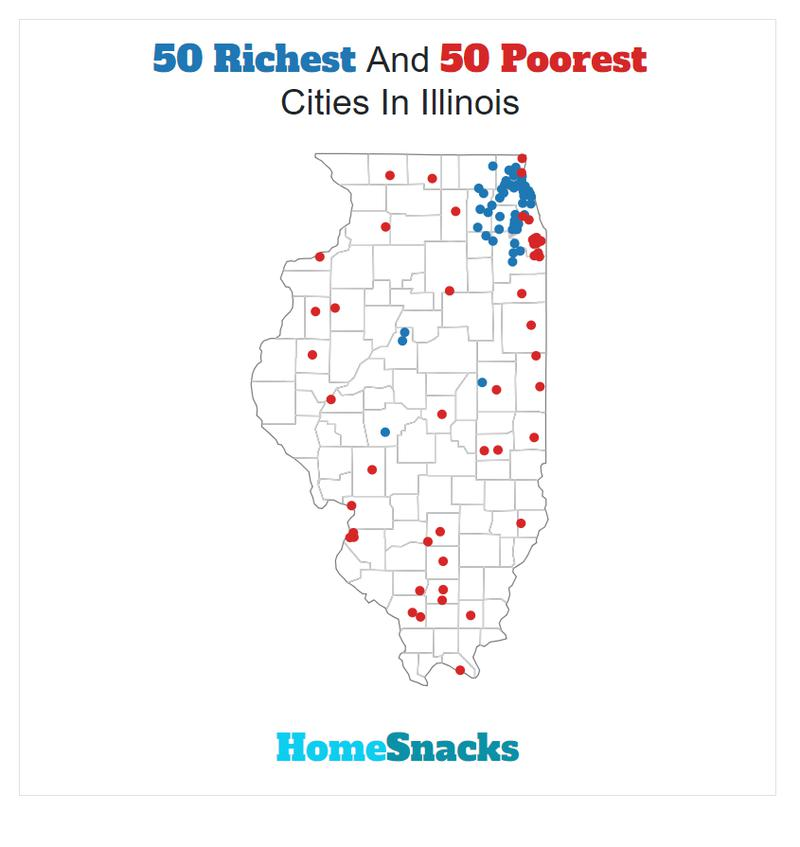Map Of The Richest Places To Live In Illinois