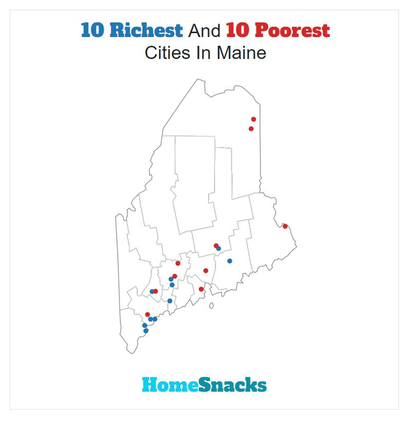 Map Of The Richest Places To Live In Maine