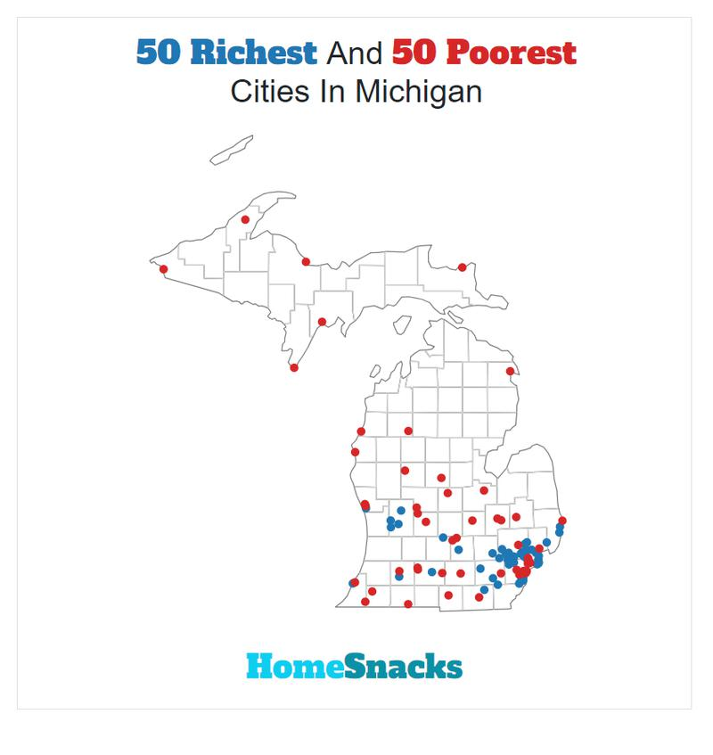 Map Of The Richest Places To Live In Michigan
