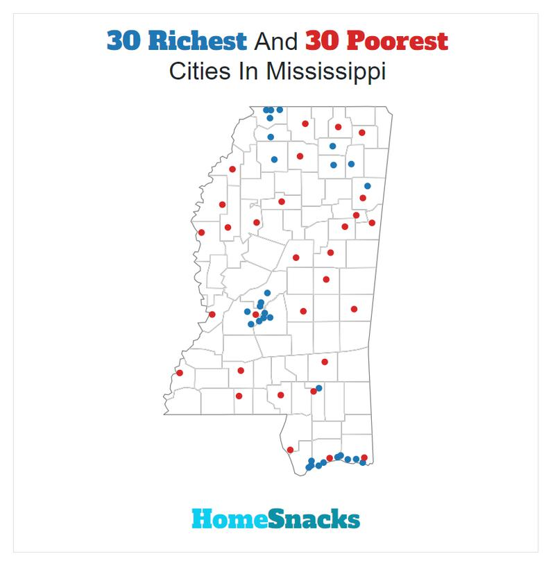 Map Of The Richest Places To Live In Mississippi