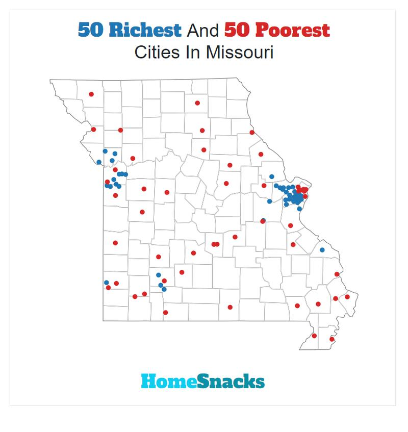 Map Of The Richest Places To Live In Missouri