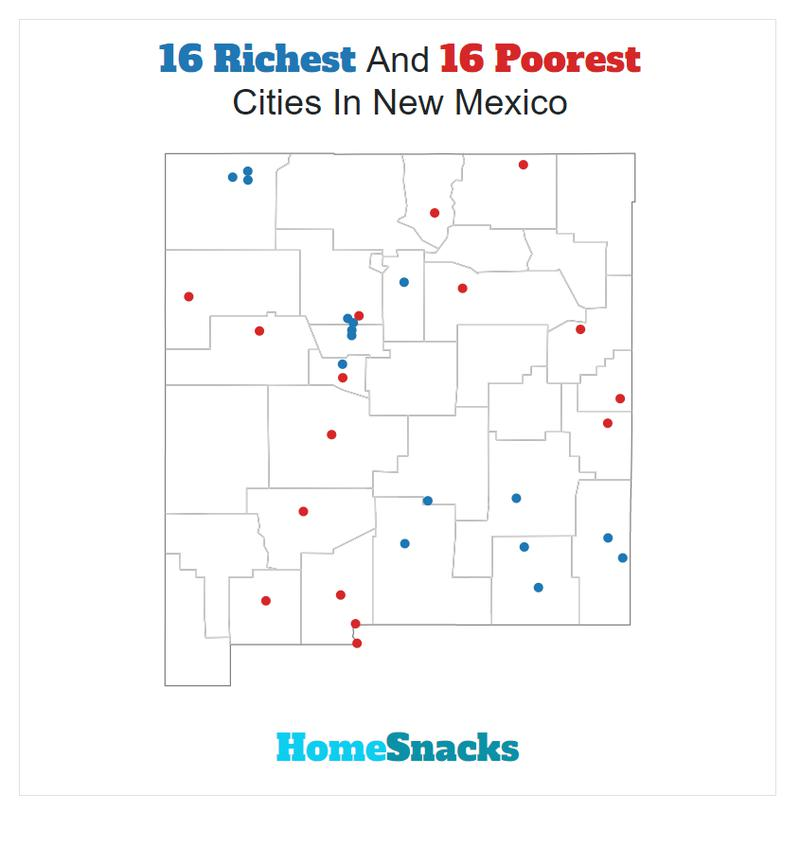 Map Of The Richest Places To Live In New Mexico