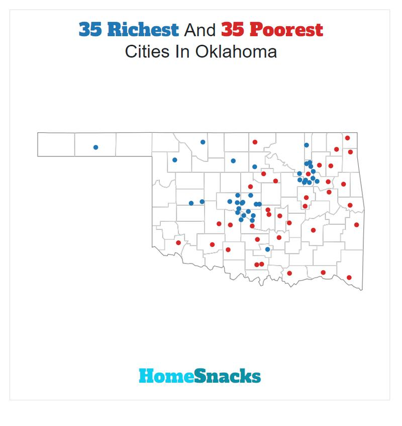Map Of The Richest Places To Live In Oklahoma