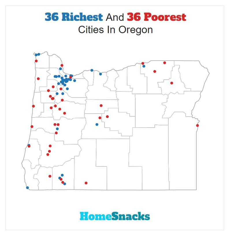 Map Of The Richest Places To Live In Oregon