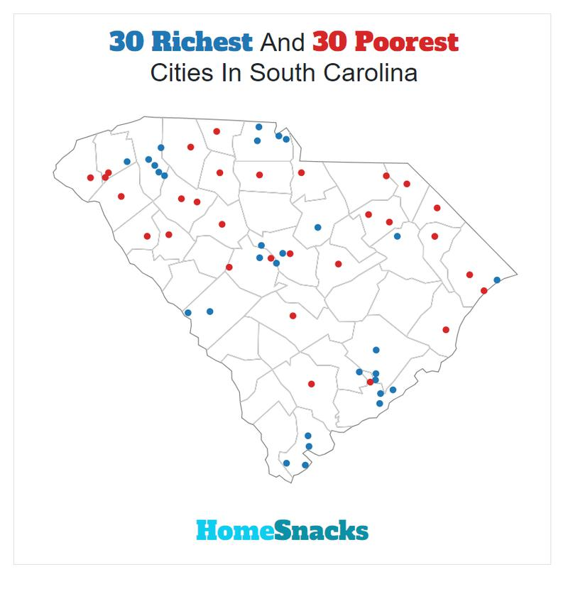 Map Of The Richest Places To Live In South Carolina