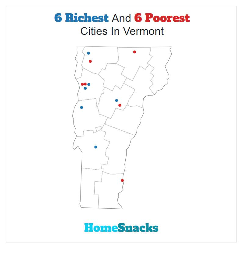Map Of The Richest Cities In Vermont