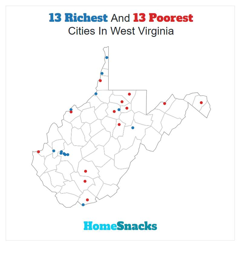 Map Of The Richest Places To Live In West Virginia
