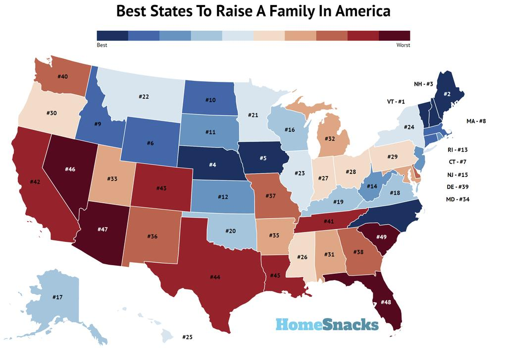Best States To Raise Family In America Map
