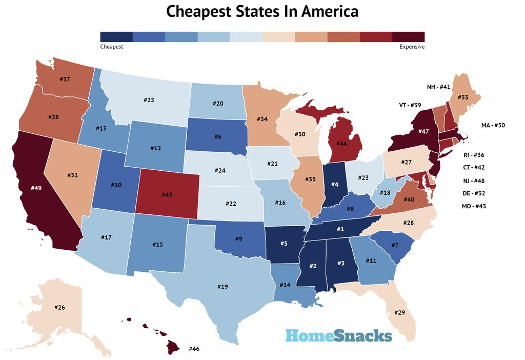Cheapest States In America Map