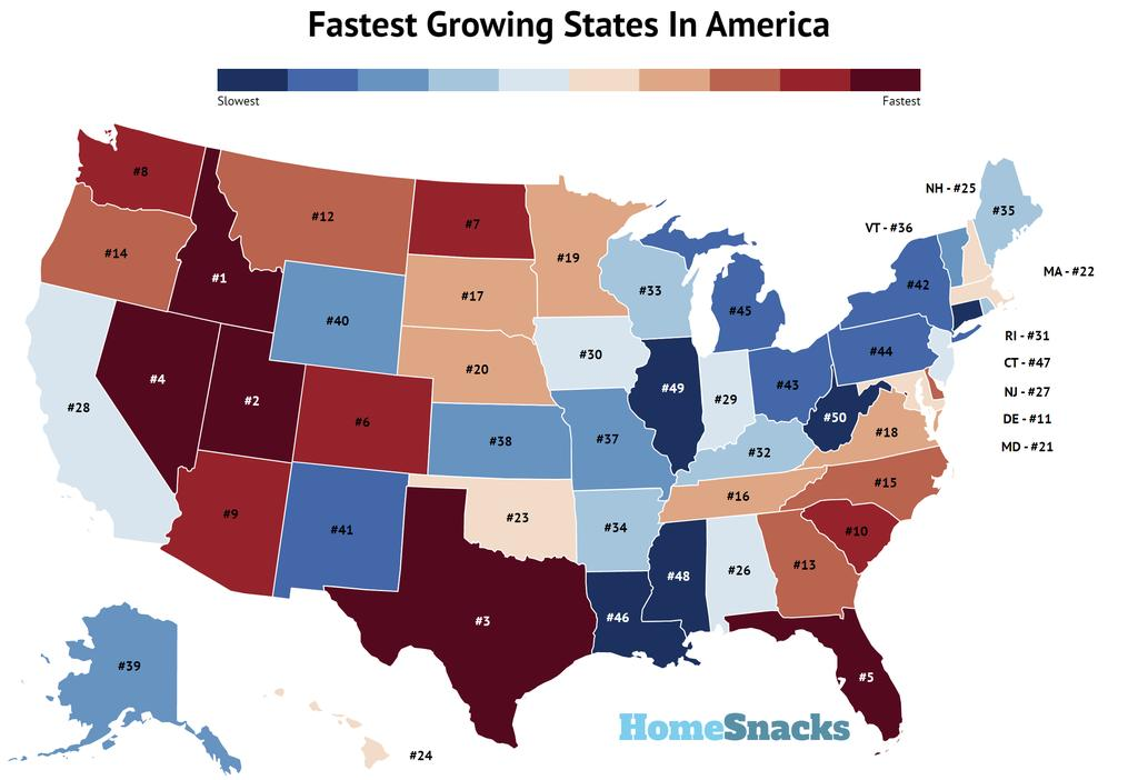 Fastest Growing States In America Map
