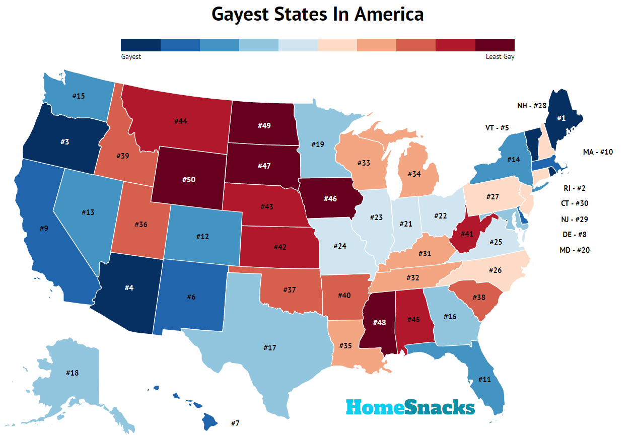 Gayest States In America Map