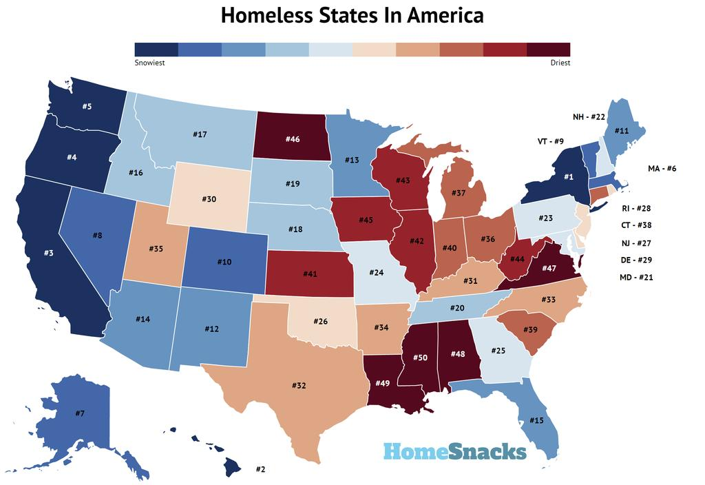 Most homeless States In The US Map