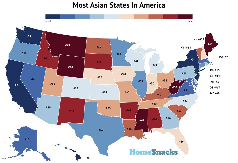 Most Asian States In America Map