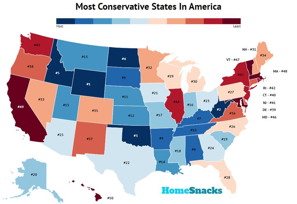 Most Conservative States In America Map
