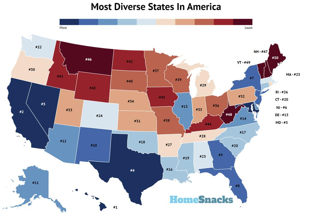 Map Of The Most Diverse States In America