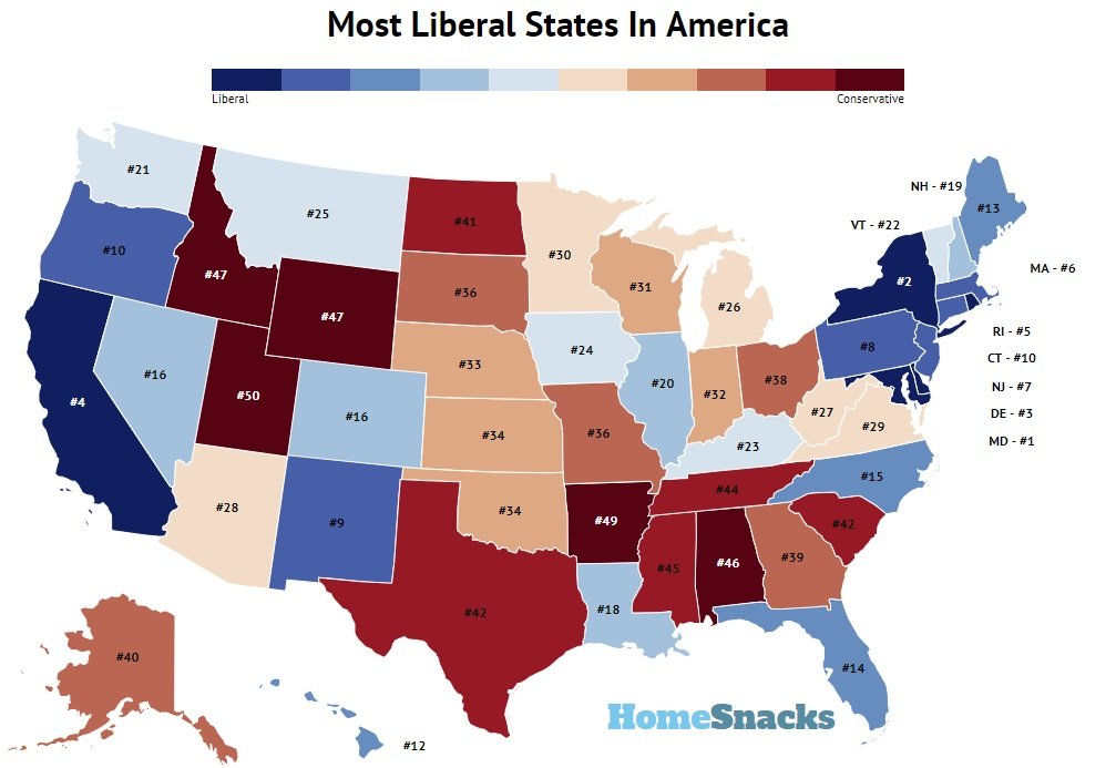 Most Liberal States In America Map