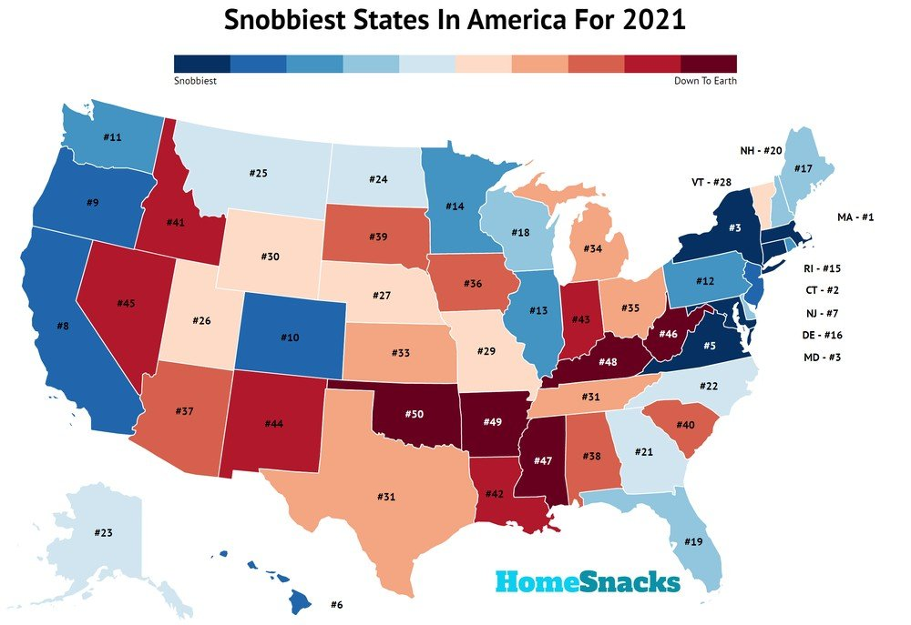 Snobbiest States In America Map