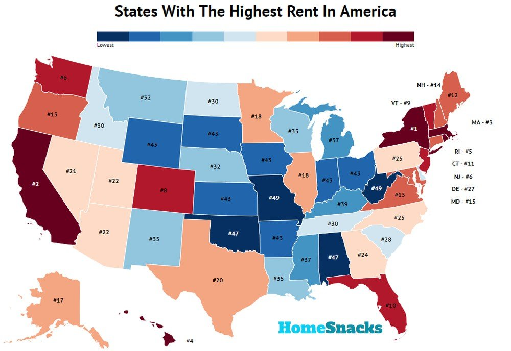 States With The Highest Rent In America Map