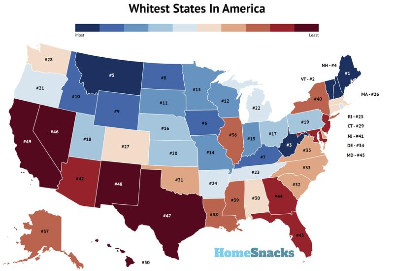 Whitest States In America Map For 2020